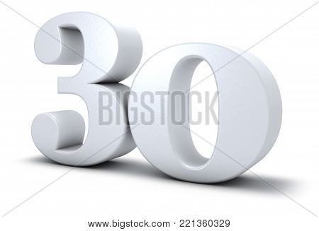 number thirty on white background - 3d rendering
