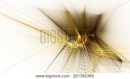 Abstract yellow gold and white background. Fractal graphics series. Dynamic composition of dots, traces and beams.