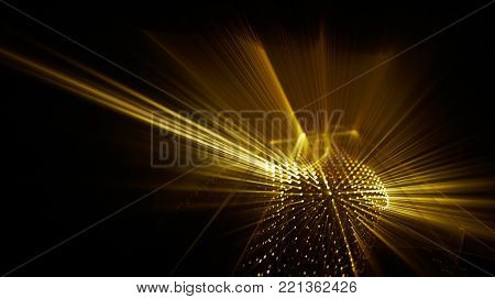 Abstract yellow gold and black background. Fractal graphics series. Dynamic composition of dots, traces and beams.