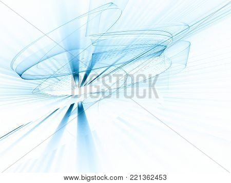Abstract blue and white background. Fractal graphics series. Dynamic composition of dots, traces and beams.