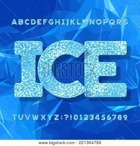 Ice typeface. Alphabet font. Letters and numbers. Abstract geometric blue background. Stock vector typeset for your headers or any typography design.