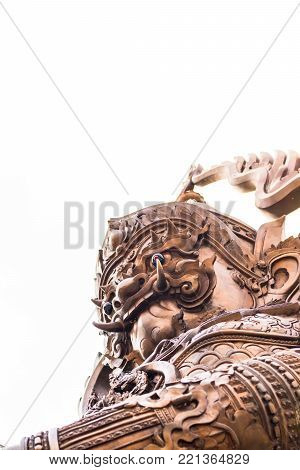 Guardian Giant Statue With White Sky Background