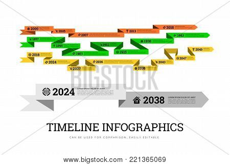 Timeline element vector infographic on white background. Can be used to compare activities or biographies