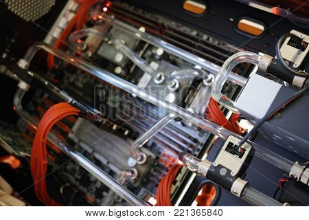 Liquid colling system of high performance workstation background hd
