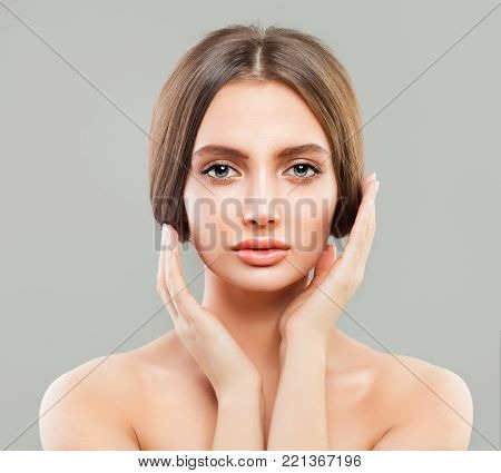 Perfect Female young Face. Young Healthy Woman