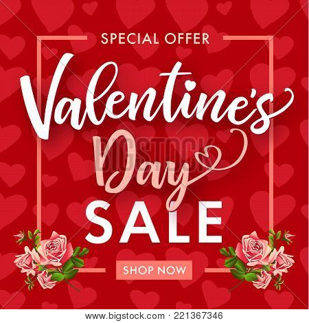 Valentines Day Sale, rose flower and hearts banner. Banner template with text special offer Valentine`s Day Sale, rose flower on hearts background. Vector illustration