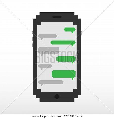 Pixel phone mobile. Pixel speech bubble, with place for text boxes, dialog boxes text message set. Short message service bubbles with place for text chat text boxes.