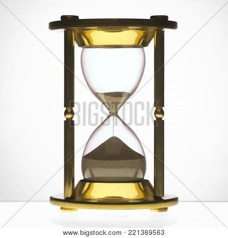 Antique Brass Hour Glass With Flowing Sand