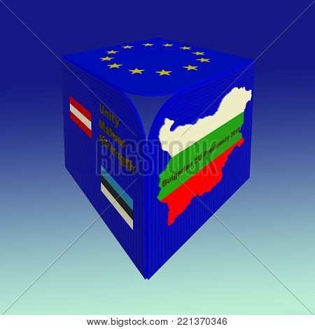 Bulgarian EU council presidency 2018 sign, symbol, logo 3D illustration. Perspective view. EU flag, Bulgarian flag, map, Austrian flag, Estonian flag, motto, 3d text, gradient background. Collection.