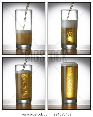 FOUR PICTURE SEQUENCE OF BEER BEING POURED INTO PINT GLASS