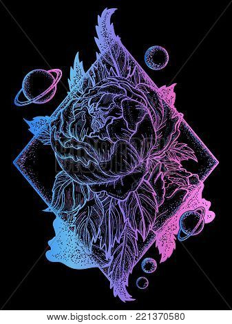 Esoteric rose tattoo art and t-shirt design. Symbol of love, beauty, nature. Beautiful magic flower rose tattoo for woman