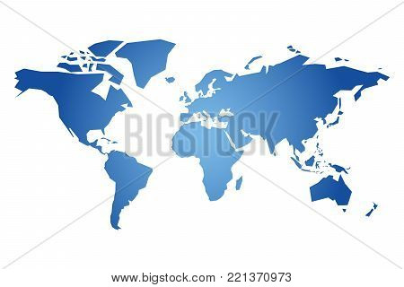 Blue simplified silhouette of World map. Vector illustration isolated on white background.