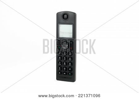 modern cordless dect phone with display on