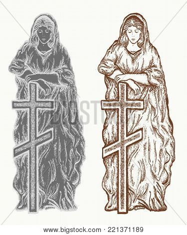 Mary vector. Statue of Mary with a cross. Statues of Holy Women hand drawn graphic. Gravestone, monument