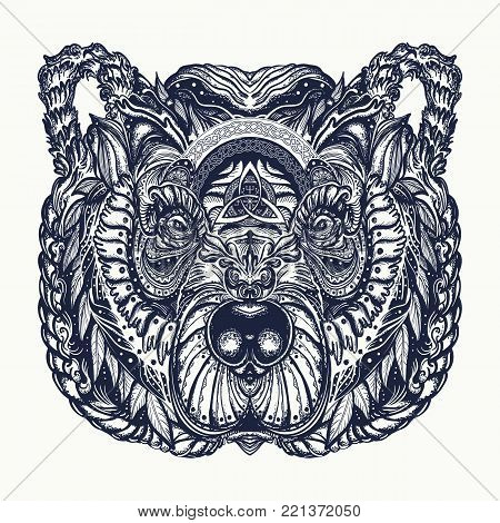 Bear tattoo and t-shirt design. Northern grizzly bear, symbol of force, wild nature, outdoors. Ornamental celtic bear head tattoo