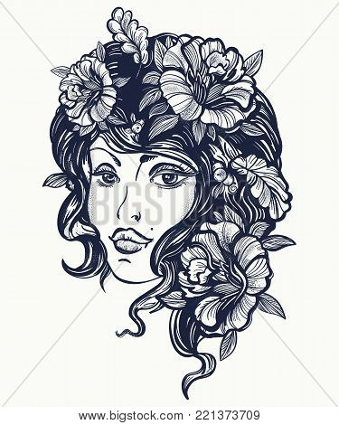 Autumn Nature Woman Old School Tattoo. Art Nouveau Fall Woman T-shirt Design. Symbol Of Queen, Princ