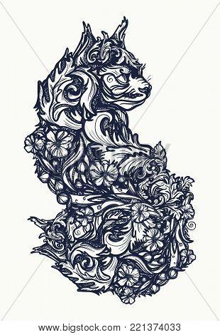 Magic cat tattoo and t-shirt design. Ornamental cat, renaissance style, art nouveau. Cat tattoo art