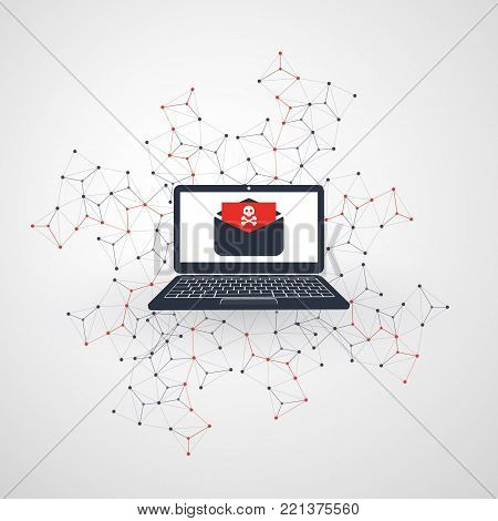 Network Vulnerability - Virus, Malware, Ransomware, Hacker Attack - IT Security Concept Design, Vector Illustration