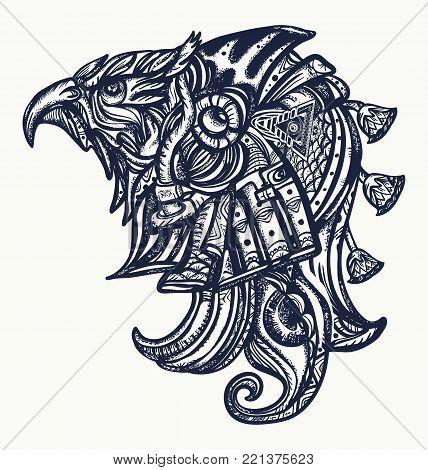 Ancient Egypt tattoo and t-shirt design.Horus gods, eye of Ra, symbol of ancient civilization. Horus head tattoo art