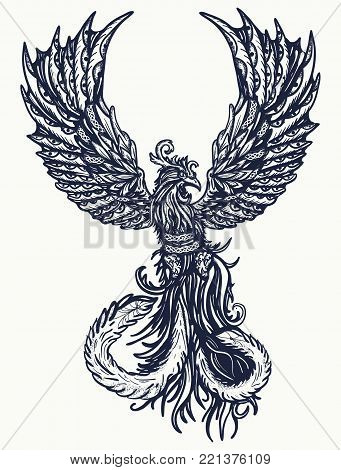Magic heat birds tattoo and t-shirt design. Symbol of revival, regeneration, life and death. Phoenix bird tattoo poster