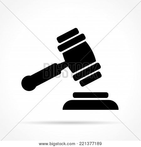 Illustration of justice hammer icon on white background