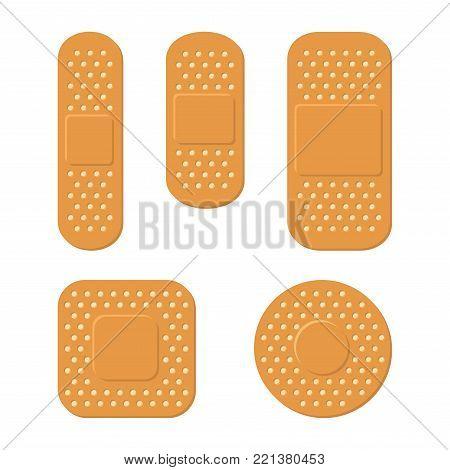 Plaster Bandage Care Set on White Background. Vector illustration