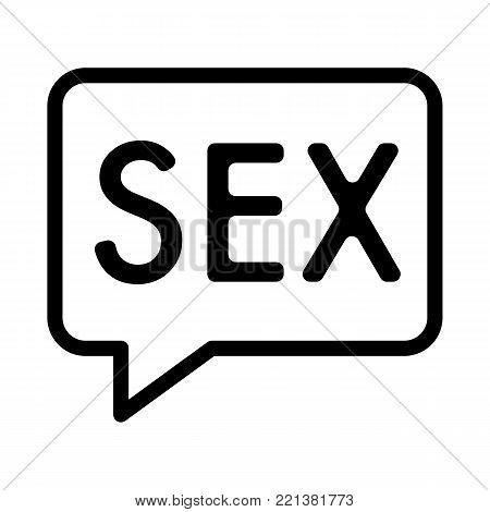Inscription of sex simple vector icon. Black and white illustration of sex word. Outline linear sex icon. eps 10
