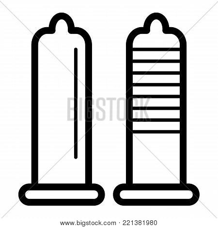 Condoms style simple vector icon. Black and white illustration of sex toy. Outline linear condom, protect icon. eps 10