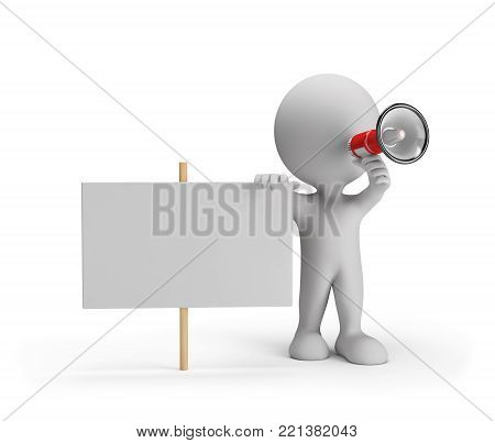3D person with a megaphone and an empty billboard. 3d image. White background.