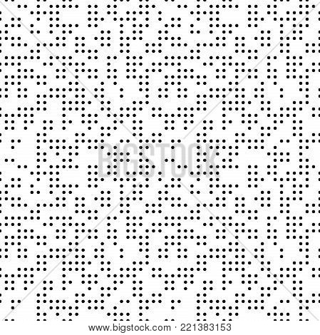 Seamless geometric black and whte pattern. Modern ornament with dotted elements. Geometric abstract pattern
