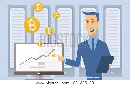 Mining bitcoin concept. Young man standing at the computer in the server room. Cryptocurrency mining farm. Vector cartoon illustration.