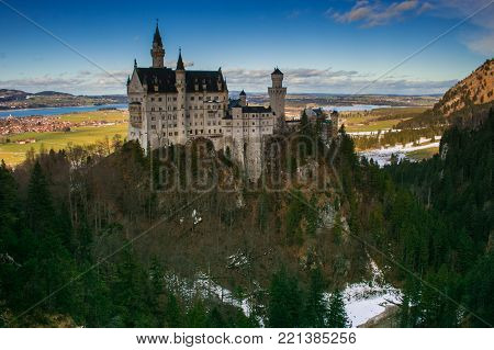 Scenic view of famous fairytale looking Neuschwanstein castle in Bavaria, Germany