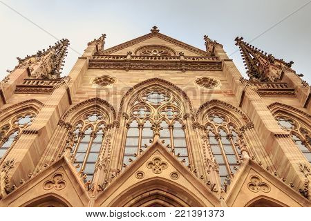 Architectural Detail Of The Façade Of Saint Etienne Temple In Mulhouse