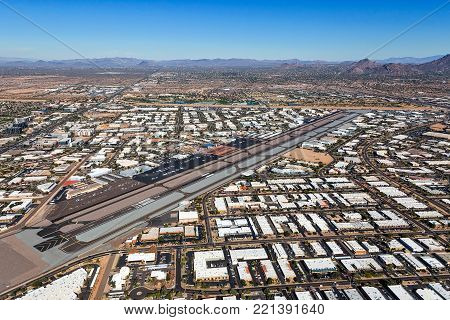 Aerial view looking north showing growth near the busy Scottsdale, Arizona Airport