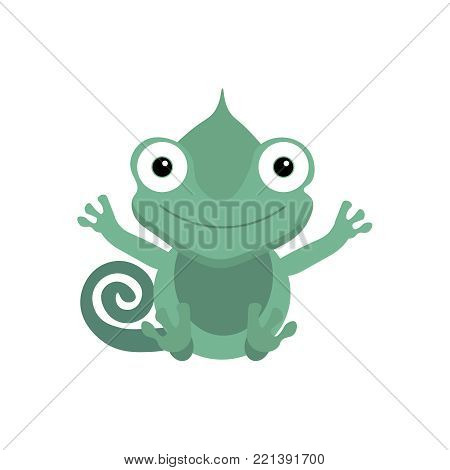 Cute green chameleon sitting. Chameleon icon. Flat cartoon illustration of sitting chameleon. Exotic animal isolated on white background. Summer tropical graphic element. Tropical animal. Flat vector.