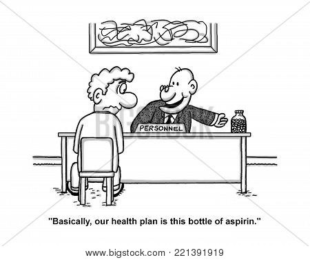 Single panel cartoon that shows a job applicant sitting in front of the Personnel Manager's desk. He points to a bottle of aspirin and says to the job applicant: