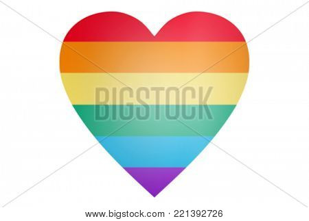 gay pride, homosexuality and love concept - illustration of rainbow heart shape over white background