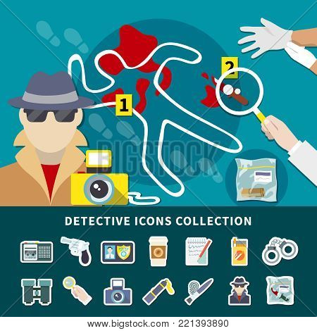 Detective icon set with icon collection with secret surveillance murder investigation and crime scene vector illustration
