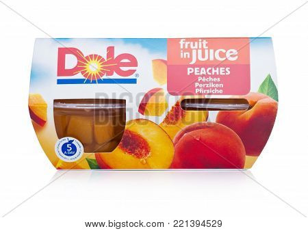 LONDON, UK - JANUARY 02, 2018: Packages of Dole fruit in juice in individual cups on white background.