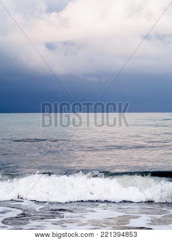 Djerba, Tunisia, Beach With Sea And Waves, Cloudy Sky