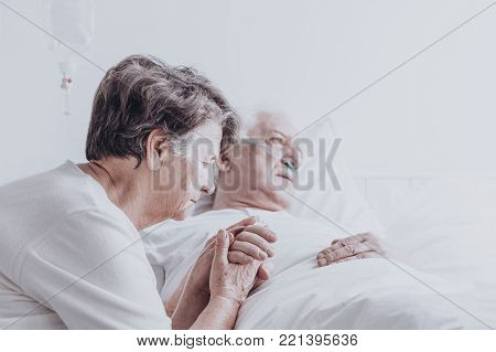 Woman Watching His Ill Husband