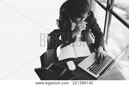 Double Exposure Of A Businessman Working And Cityscape On Whit Background
