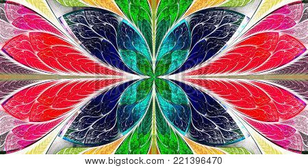 Beautiful fractal pattern in stained-glass window style. You can use it for invitations, notebook covers, phone case, postcards, cards, wallpapers and so on. Artwork for creative design, art and entertainment.