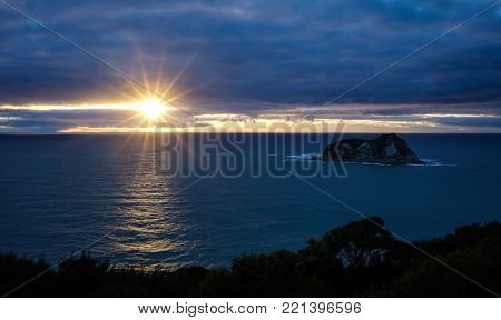 Sunrise On The Sea In New Zealand