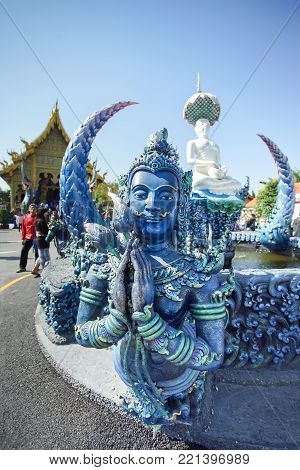CHIANG RAI, THAILAND - December 20, 2017: Very beautiful sculpture in the Wat Rong Sua Ten or Rong Sua Ten temple. This place is the popular attraction for Chiang Rai trip.