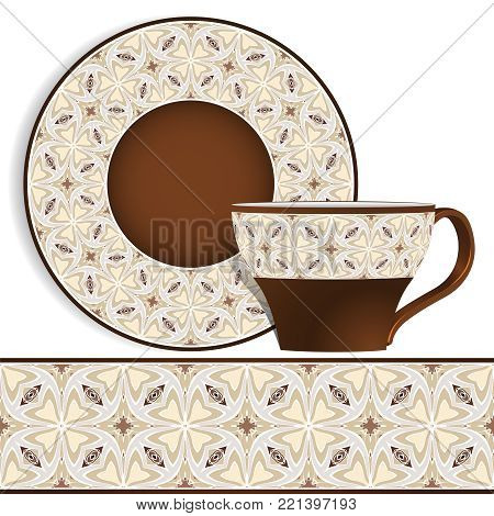 Cup and saucer with Oriental blue pattern on the edge. Vector illustration on a white background.