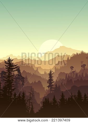 Vertical illustration coniferous forest hills with canyons.