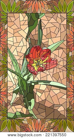 Vector mosaic with red tulip in vertical stained-glass window frame.