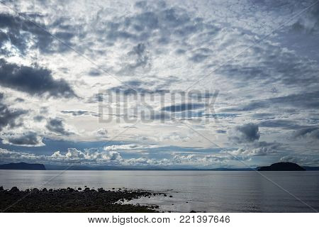 The lake with cloudscape at sunny day in New Zealand.