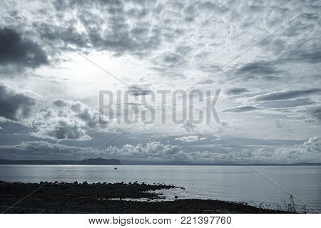 The lake with cloudscape at early morning in New Zealand.